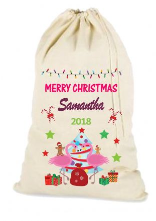 Flamingo Christmas Santa Gift Sack